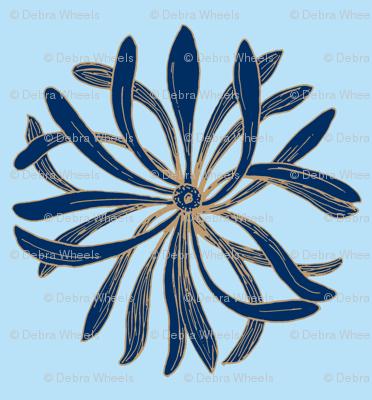 Chrysanthemum dark blue on light blue