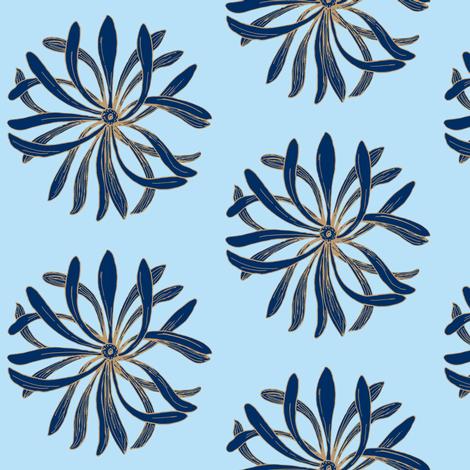 Chrysanthemum dark blue on light blue fabric by dw77 on Spoonflower - custom fabric
