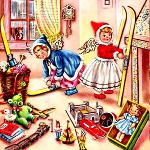 Merry Christmas cherubs angels ski toys dolls fireplace mantle cars castle trains books teddy bears ducks trumpets squirrels windows retro vintage
