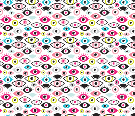 Beautiful eyes retro eye lash and love wink retro illustration pattern fabric by littlesmilemakers on Spoonflower - custom fabric