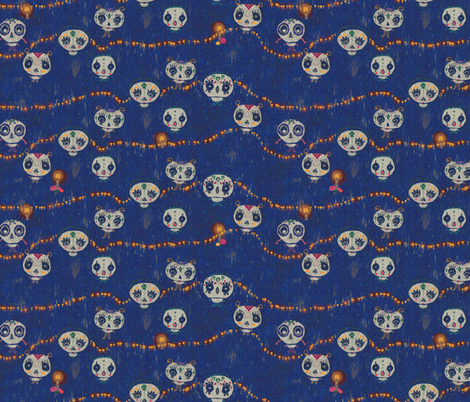 calaveras, bleu fabric by sanneteloo on Spoonflower - custom fabric