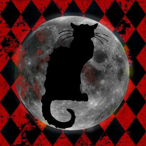 Le Chat Noir Harlequin Moon, Black & Orange Halloween Cat