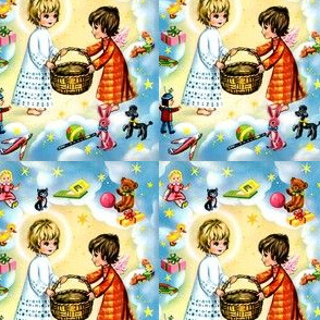 kids Merry Christmas cherubs angels children stars presents gifts clouds heaven sky dolls toys kittens books bears dogs trains teddy bears bunny