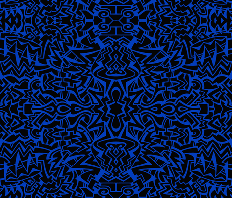 Running with scissors black/blue fabric by whimzwhirled on Spoonflower - custom fabric