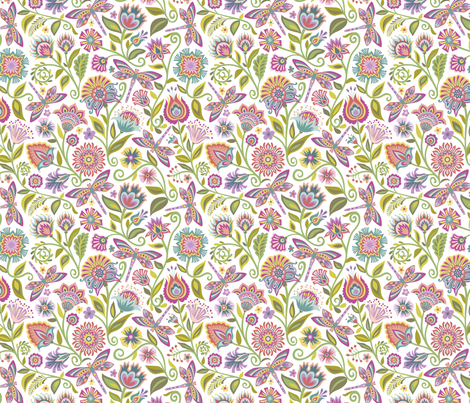 Dragonfly in the Garden_White fabric by groovity on Spoonflower - custom fabric
