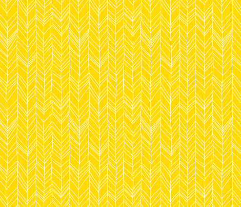 Featherland Yellow/White fabric by leanne on Spoonflower - custom fabric