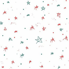 Christmas Stars Red White Green