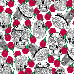 Calaveras_Black_and_white_with_red_roses_on_White