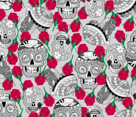 Calaveras_Black_and_White_on_Dusty_Lilac fabric by house_of_heasman on Spoonflower - custom fabric