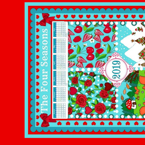 Red rose 2019 Calendar Tea Towel / Four seasons