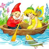 vintage kids elf elves gnomes pixies dwarfs imps fairies fairy fae acorn boating sailing pond river fish flowers grass woodlands children fish