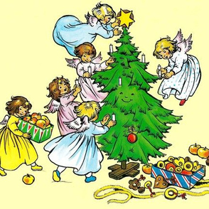kids Merry Christmas angels cherubs trees stars toys candles baubles toys gifts presents decorations streamers children apples