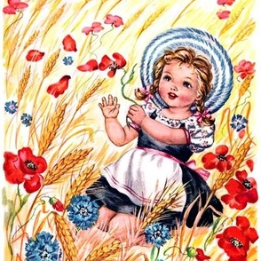 vintage retro kids country girls children barley wheat farm grass flowers poppy poppies rural countryside whimsical