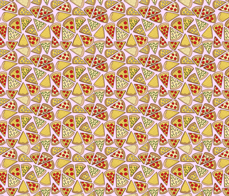 pizza party - pink fabric by kristinnohe on Spoonflower - custom fabric