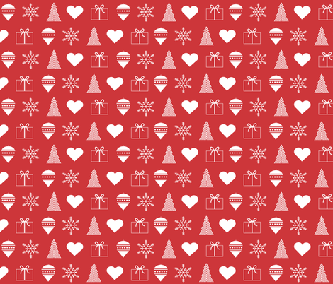 christmas wrapping paper white on red fabric by little_fish on spoonflower custom fabric