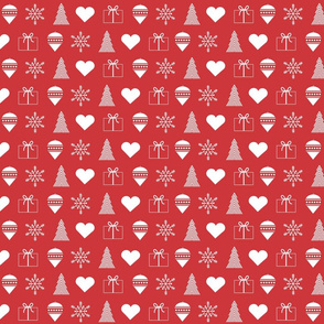 Christmas wrapping paper - white on red