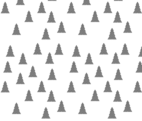Christmas trees in black and white - random fabric by little_fish on Spoonflower - custom fabric