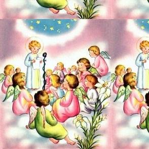 vintage retro whimsical angels cherubs heavens sky clouds lily lilies flowers stars children kids