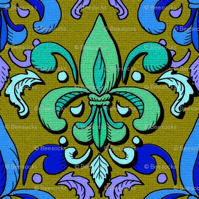 Fleur de lis damask poison green wallpaper beesocks - Fleur de poison ...