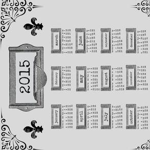 Industrial Card Catalog Tea Towel 2015 Calendar