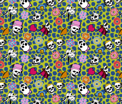 Through The Looking Glass Calaveras fabric by bloomingwyldeiris on Spoonflower - custom fabric