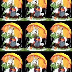 vintage retro kitsch rabbits bunny bunnies umbrellas brolly raining Easter eggs baskets Good Friday whimsical