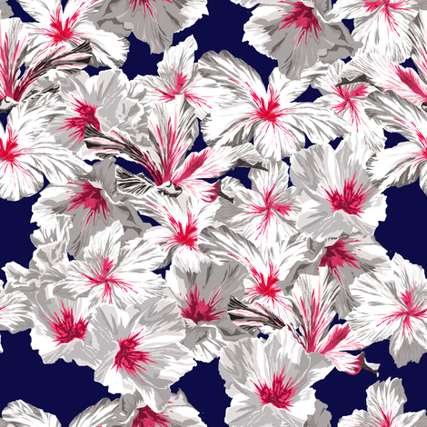 midnight_hibiskus fabric by youdesignme on Spoonflower - custom fabric