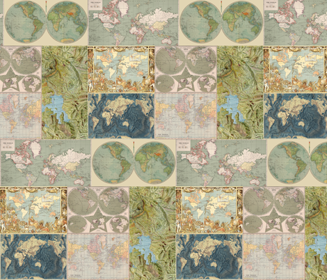 Map Collage fabric by aftermyart on Spoonflower - custom fabric