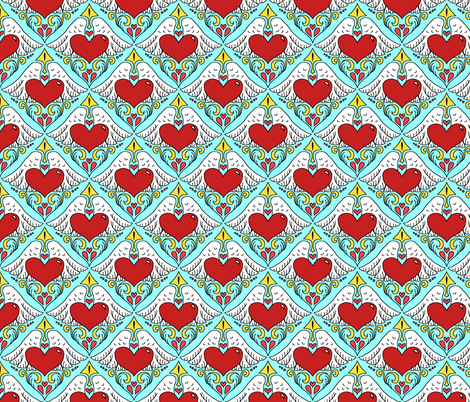 deconstructed cupid, Valentine's winged heart and arrow fabric by beesocks on Spoonflower - custom fabric