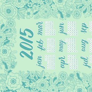 2015 Calendar Tea Towel - Mint