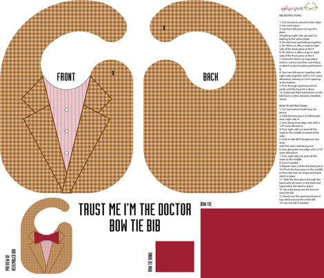 The Doctor's bow tie bib sewing kit fabric by designedbygeeks on Spoonflower - custom fabric