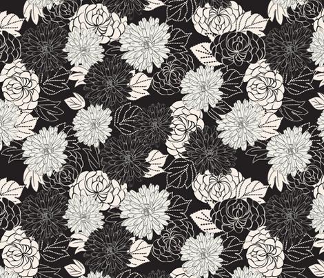 marigolds black and white fabric by kociara on Spoonflower - custom fabric