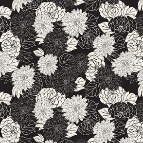 marigolds black and white