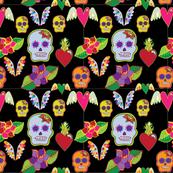 Skull Calaveras hearts print