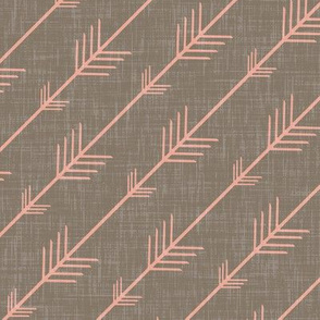 Flying Arrows in Coral on Warm Gray Linen