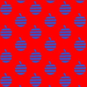 Blue Apples on Red