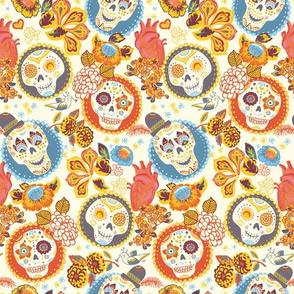 Día de los muertos  - skull fabric gold