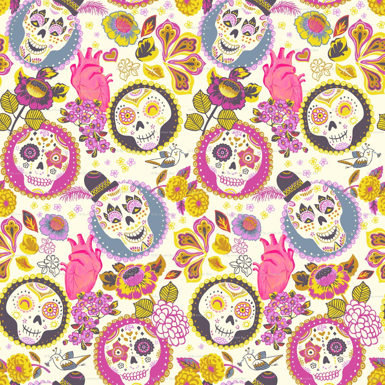 Día de los muertos - skull fabric magenta wallpaper - irrimiri - Spoonflower