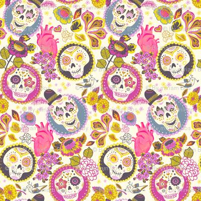 D 237 A De Los Muertos Skull Fabric Magenta Fabric
