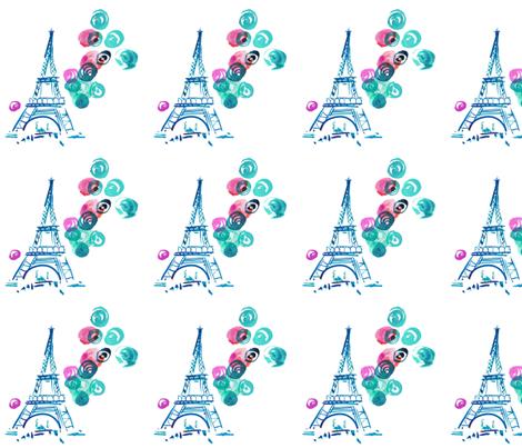cestlaviv_eiffelballoon_mint_goodbuy fabric by @vivsbeautifulmess on Spoonflower - custom fabric