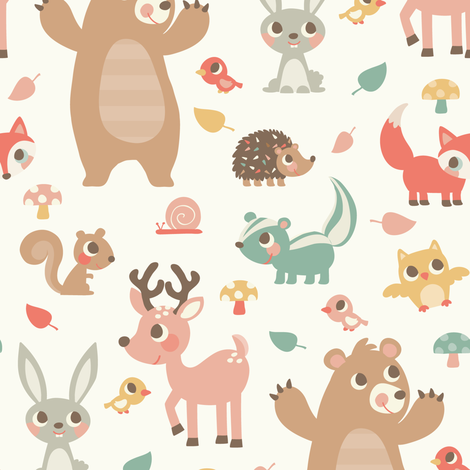 Woodland Animals fabric by laura_mayes on Spoonflower - custom fabric