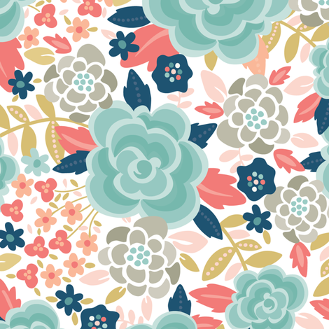 Pretty Floral Blue fabric by laura_mayes on Spoonflower - custom fabric