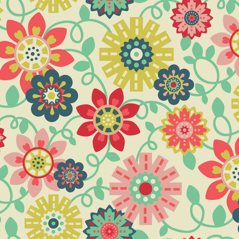 Colorful floral fabric by laura_mayes on Spoonflower - custom fabric