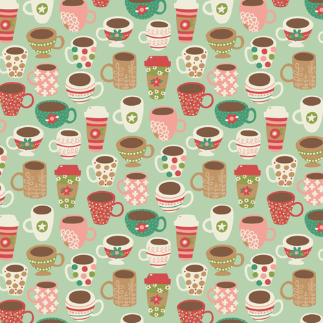 Coffee mugs fabric by laura_mayes on Spoonflower - custom fabric