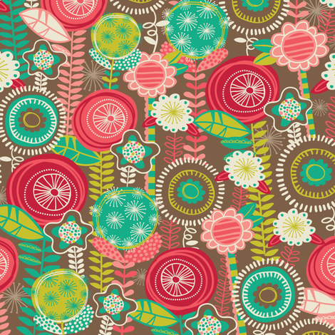 Funky Flowers fabric by laura_mayes on Spoonflower - custom fabric