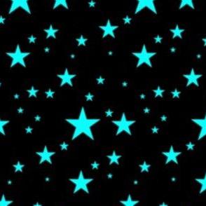 Aqua Blue Glowing Stars on Black
