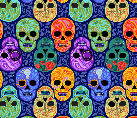 Calaveras_celebración del Color_Navy Lg fabric by robinpickens on Spoonflower - custom fabric