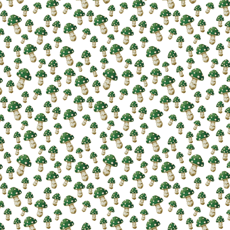 Mini Mushroom, Magic Green fabric by thistleandfox on Spoonflower - custom fabric