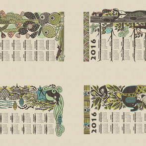 2016 Jungle, Ocean, Desert and Forest calendars on a yard