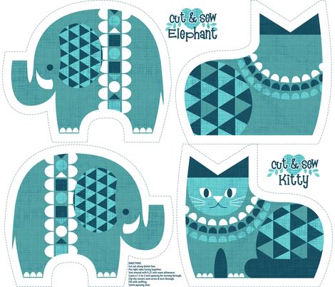 elephant kitty blue fabric by cjldesigns on Spoonflower - custom fabric